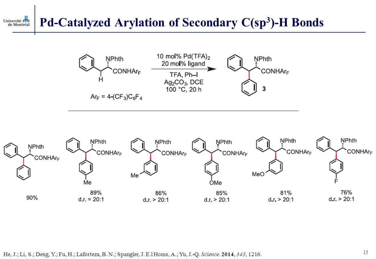 15 Pd-Catalyzed Arylation of Secondary C(sp 3 )-H Bonds He, J.; Li, S.; Deng, Y.; Fu, H.; Laforteza, B.