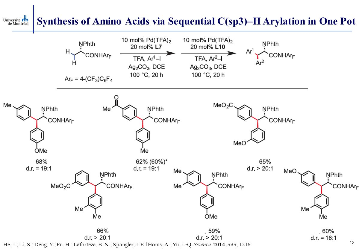 Synthesis of Amino Acids via Sequential C(sp3)–H Arylation in One Pot 18 He, J.; Li, S.; Deng, Y.; Fu, H.; Laforteza, B. N.; Spangler, J. E.l Homs, A.