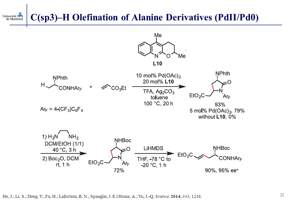 22 C(sp3)–H Olefination of Alanine Derivatives (PdII/Pd0) He, J.; Li, S.; Deng, Y.; Fu, H.; Laforteza, B.