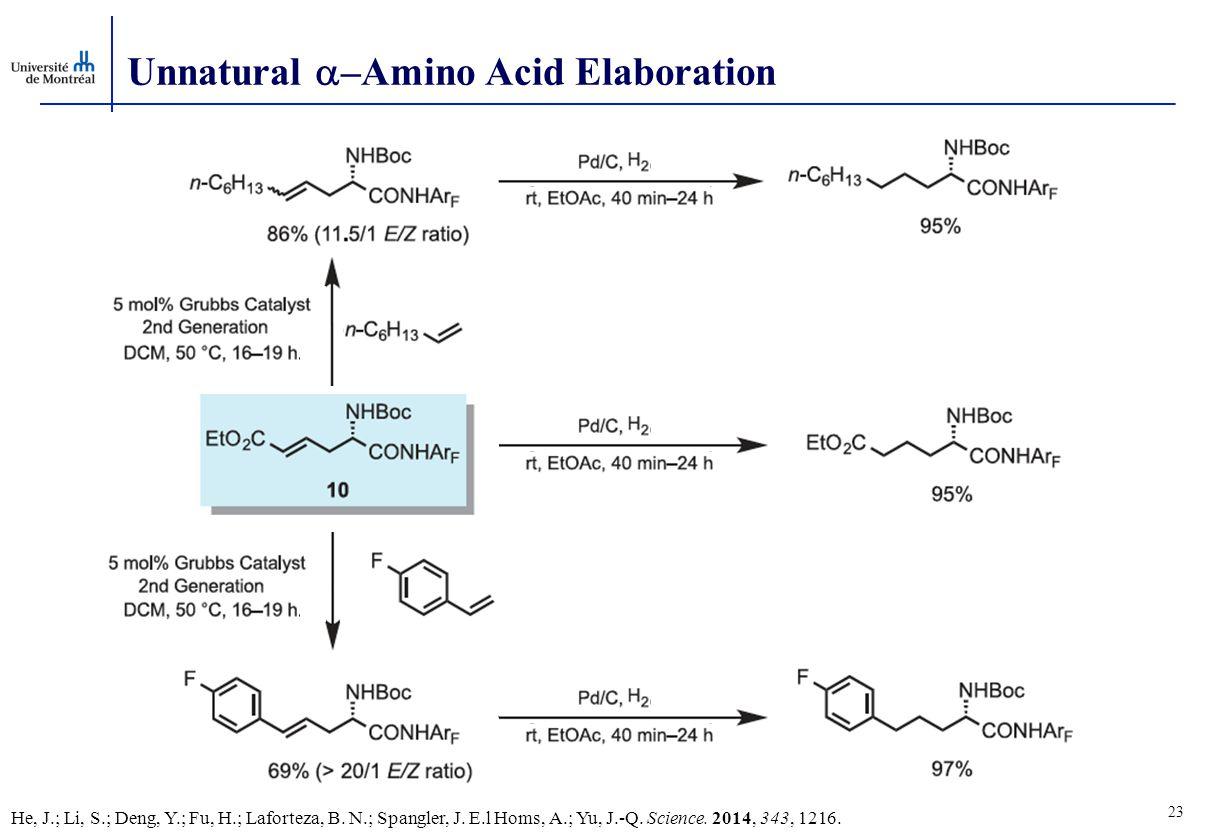 23 Unnatural  –Amino Acid Elaboration He, J.; Li, S.; Deng, Y.; Fu, H.; Laforteza, B.
