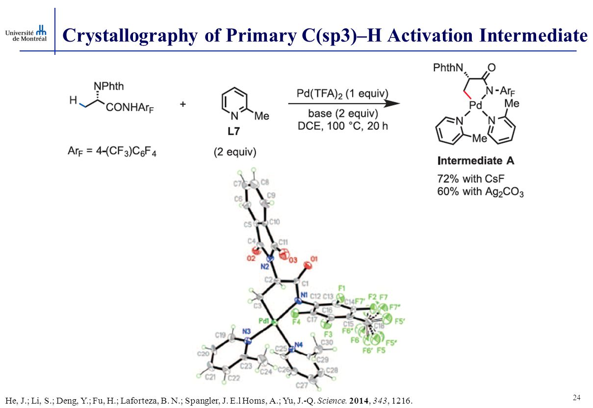 24 Crystallography of Primary C(sp3)–H Activation Intermediate He, J.; Li, S.; Deng, Y.; Fu, H.; Laforteza, B.