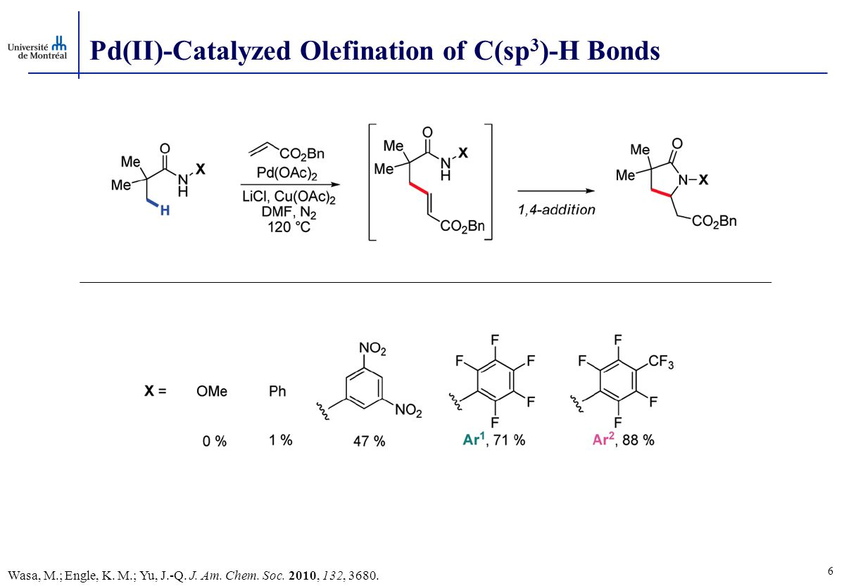 Pd(II)-Catalyzed Olefination of C(sp 3 )-H Bonds 6 Wasa, M.; Engle, K.
