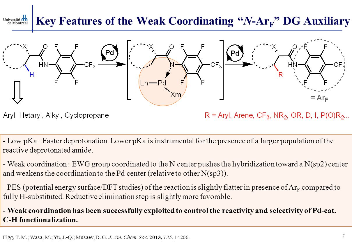 Key Features of the Weak Coordinating N-Ar F DG Auxiliary 7 - Low pKa : Faster deprotonation.