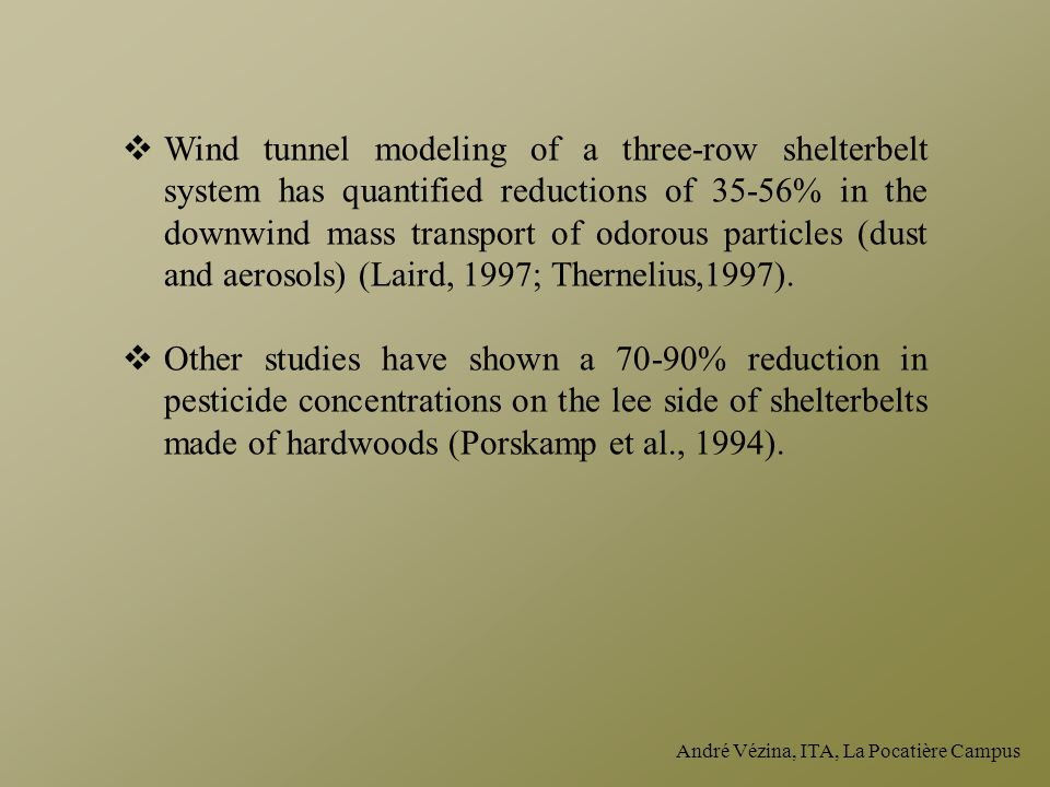 André Vézina, ITA, La Pocatière Campus  Wind tunnel modeling of a three-row shelterbelt system has quantified reductions of 35-56% in the downwind ma