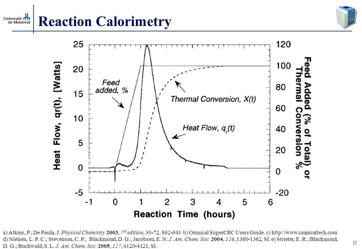 11 Reaction Calorimetry a) Atkins, P.; De Paula, J.