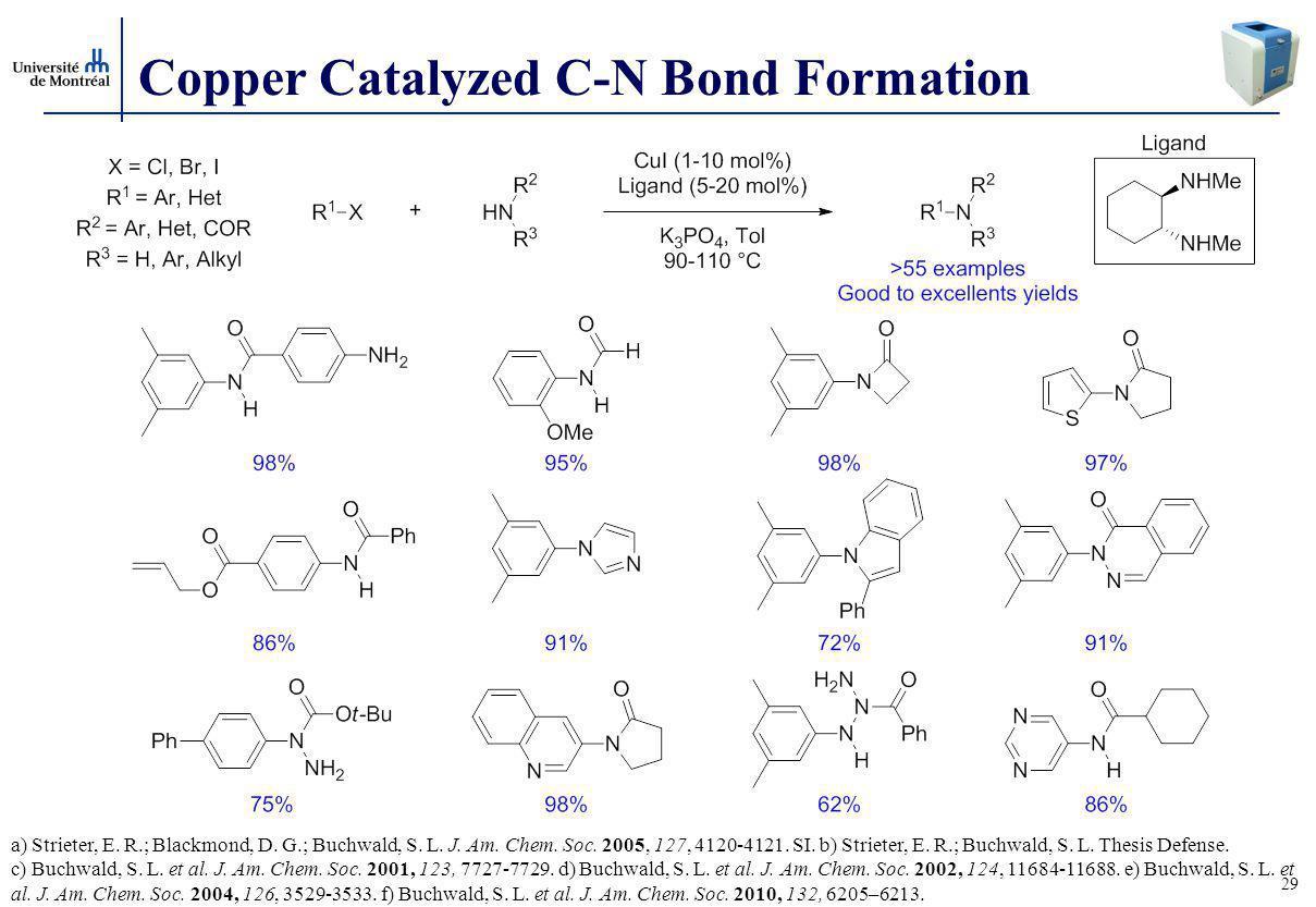 29 Copper Catalyzed C-N Bond Formation a) Strieter, E.
