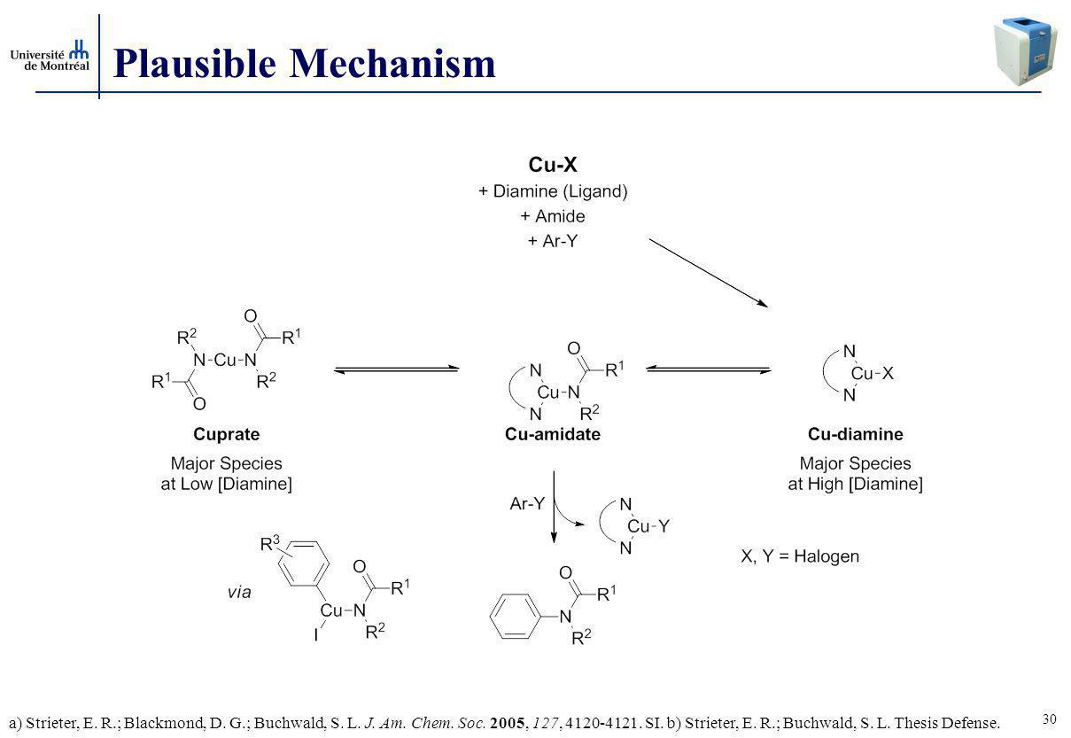 30 Plausible Mechanism a) Strieter, E.R.; Blackmond, D.