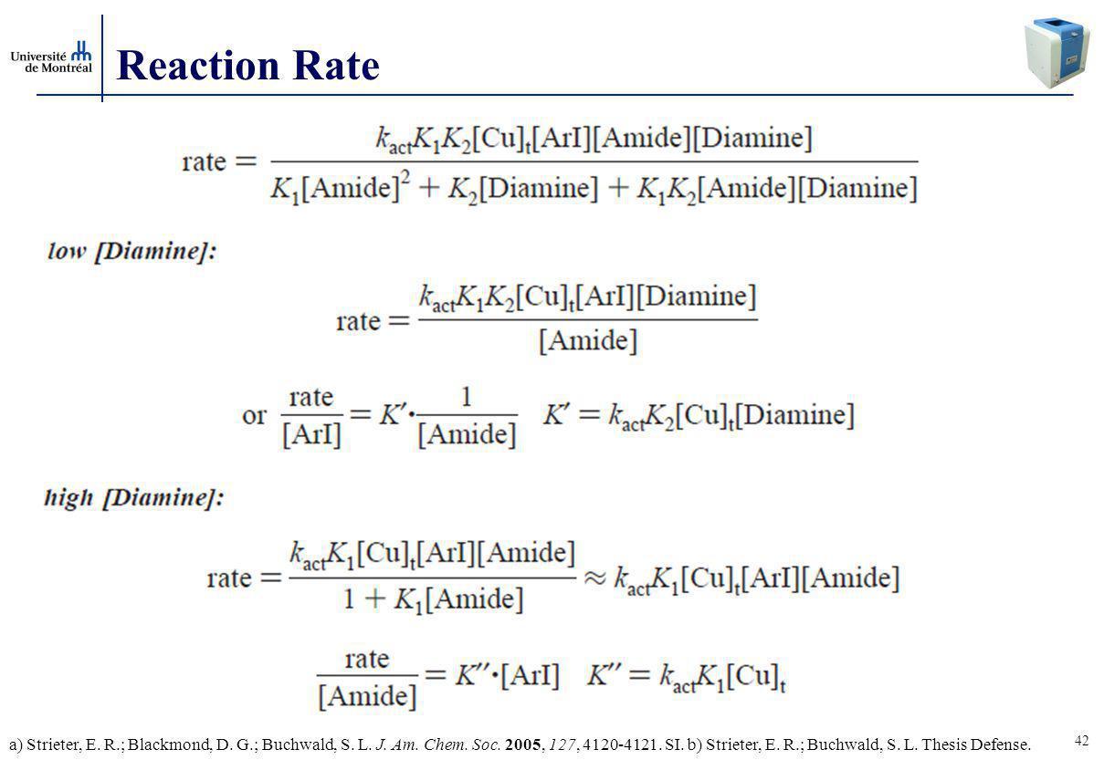 42 Reaction Rate a) Strieter, E.R.; Blackmond, D.
