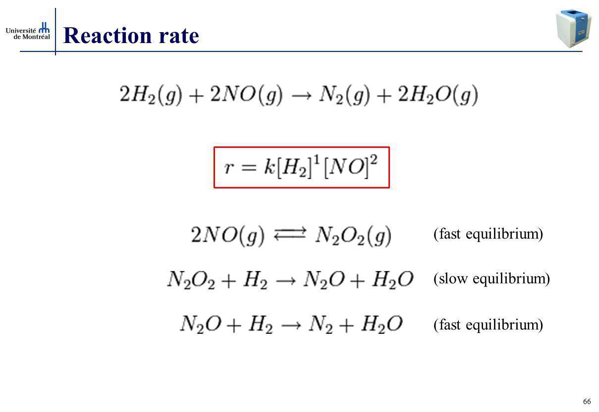 66 Reaction rate (fast equilibrium) (slow equilibrium) (fast equilibrium)