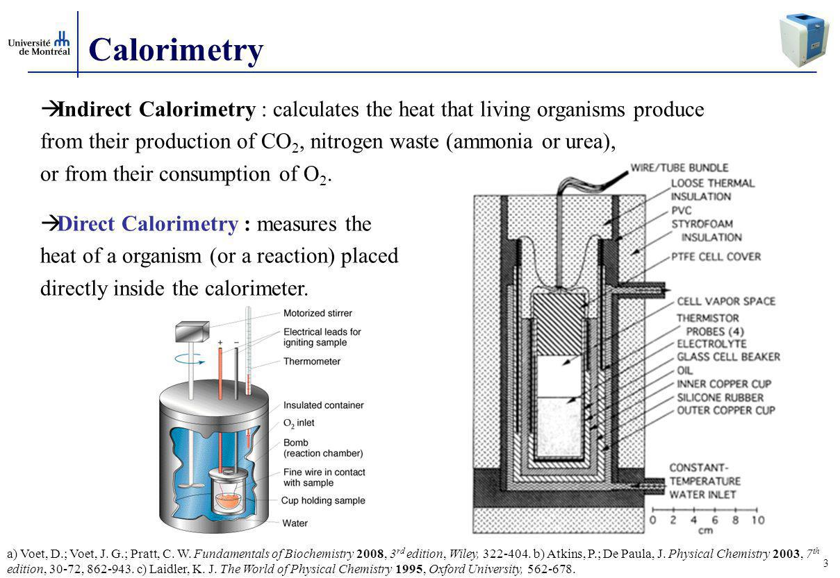 3 Calorimetry  Indirect Calorimetry : calculates the heat that living organisms produce from their production of CO 2, nitrogen waste (ammonia or urea), or from their consumption of O 2.