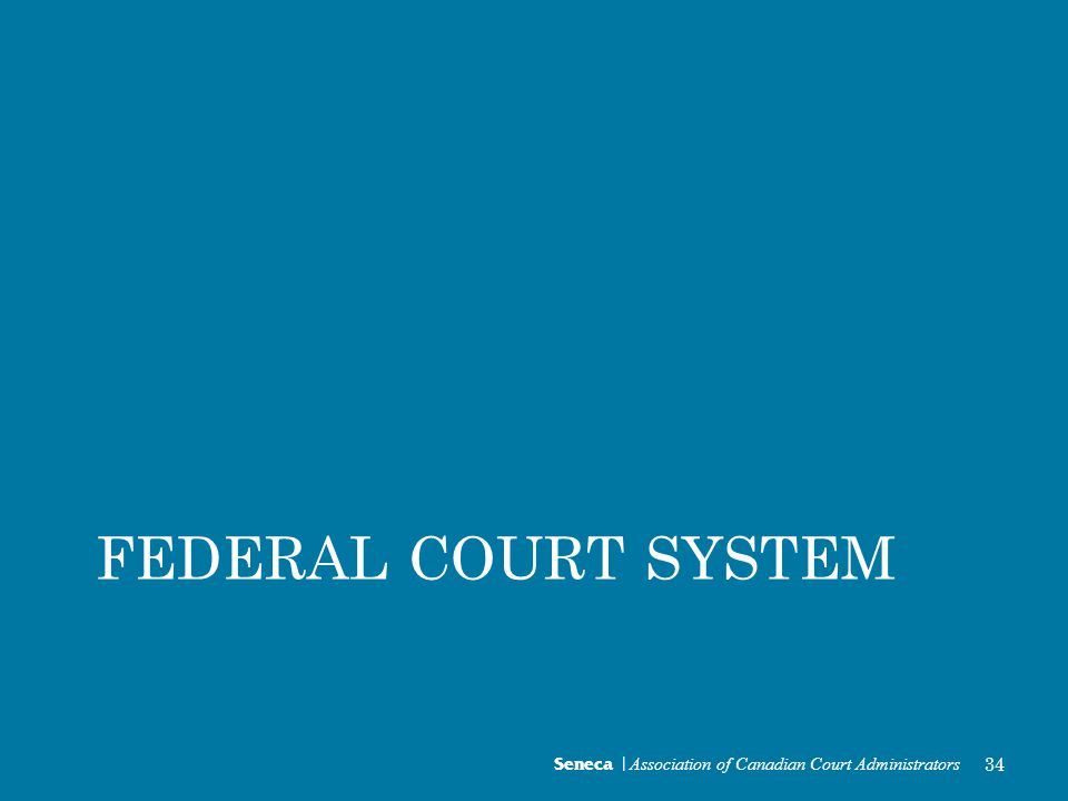Seneca | Association of Canadian Court Administrators 34 FEDERAL COURT SYSTEM