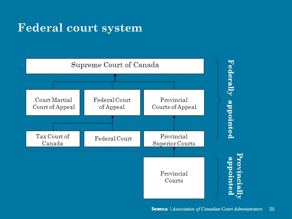 Federal court system Seneca | Association of Canadian Court Administrators 35 Supreme Court of Canada Federal Court of AppealProvincial Courts of Appeal Federal CourtTax Court Court Martial Appeal Court Superior Court Provincial Court System Supreme Court of Canada Court Martial Court of Appeal Federal Court of Appeal Provincial Courts of Appeal Provincial Superior Courts Provincial Courts Federal Court Tax Court of Canada Federally appointed Provincially appointed