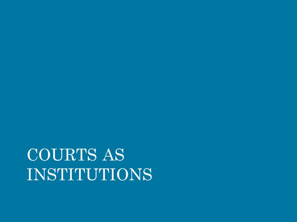 COURTS AS INSTITUTIONS