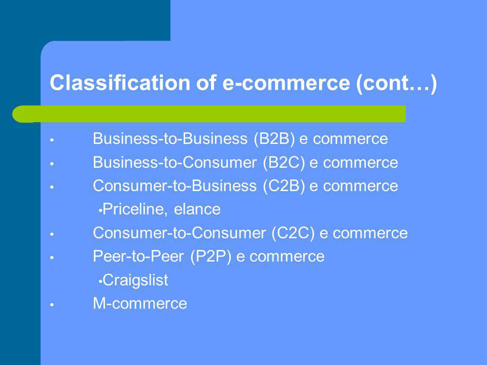 Classification of e-commerce (cont…) Business-to-Business (B2B) e commerce Business-to-Consumer (B2C) e commerce Consumer-to-Business (C2B) e commerc