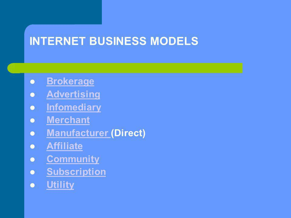 INTERNET BUSINESS MODELS Brokerage Advertising Infomediary Merchant Manufacturer (Direct) Manufacturer Affiliate Community Subscription Utility