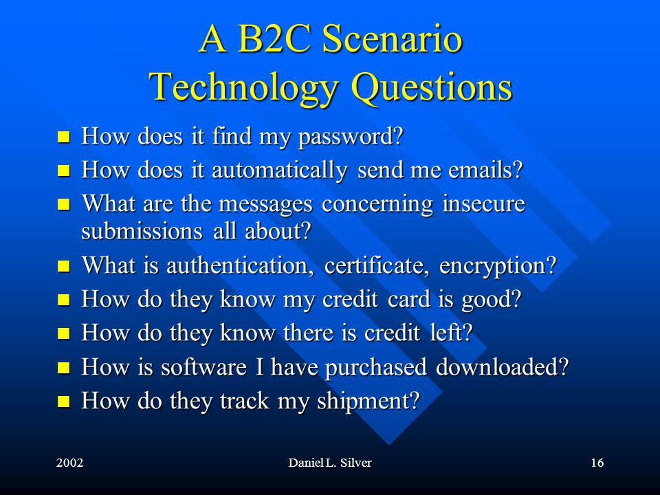 2002Daniel L. Silver16 A B2C Scenario Technology Questions How does it find my password.