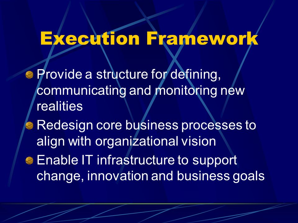Execution Framework Provide a structure for defining, communicating and monitoring new realities Redesign core business processes to align with organi