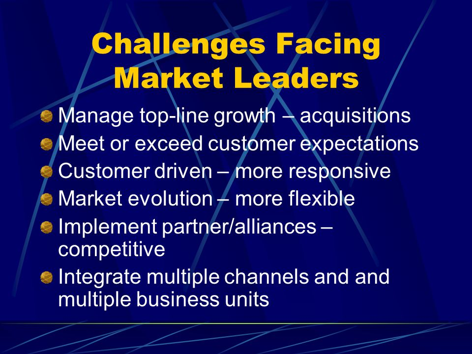 Challenges Facing Market Leaders Manage top-line growth – acquisitions Meet or exceed customer expectations Customer driven – more responsive Market evolution – more flexible Implement partner/alliances – competitive Integrate multiple channels and and multiple business units