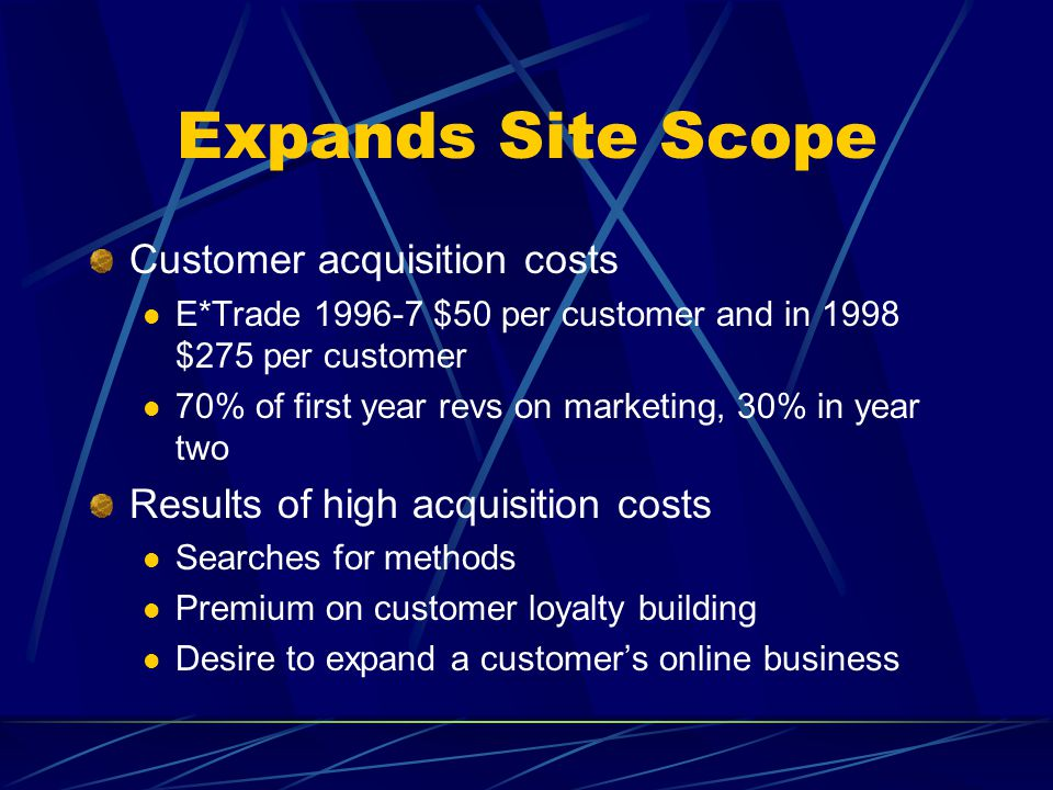Expands Site Scope Customer acquisition costs E*Trade 1996-7 $50 per customer and in 1998 $275 per customer 70% of first year revs on marketing, 30% i