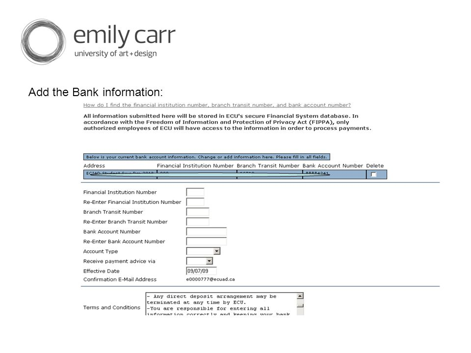 Add the Bank information: