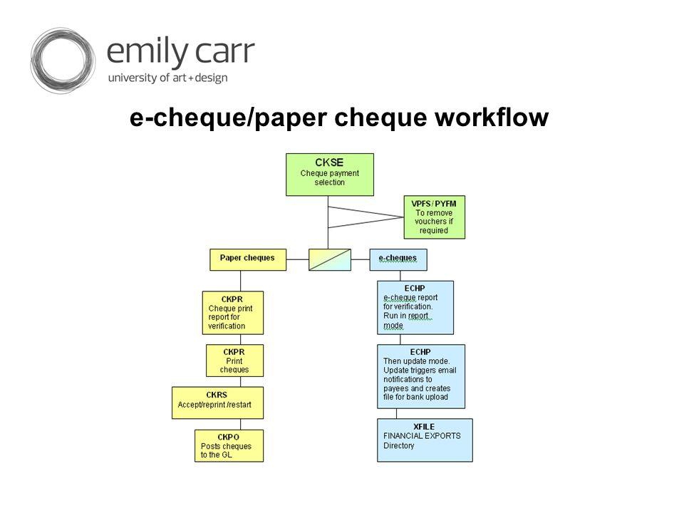 e-cheque/paper cheque workflow