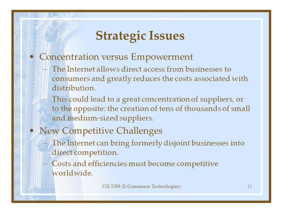 Strategic Issues Concentration versus Empowerment –The Internet allows direct access from businesses to consumers and greatly reduces the costs associ