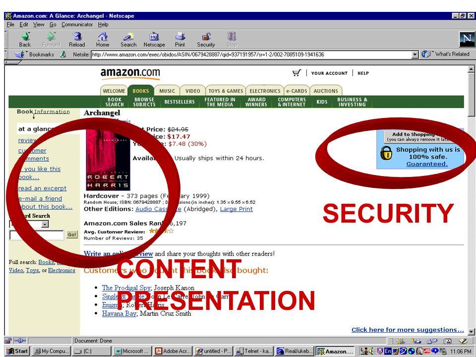 Dr. Thomas TranCSI 5389 (E-Commerce Technologies)3 CONTENT PRESENTATION SECURITY