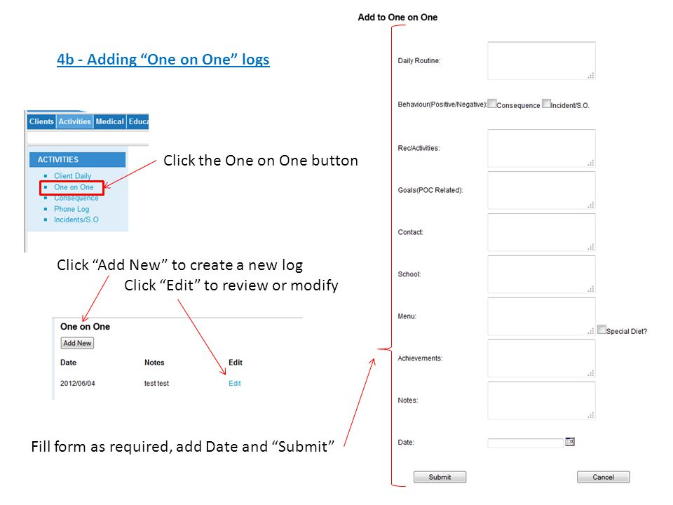 4b - Adding One on One logs Click the One on One button Click Add New to create a new log Click Edit to review or modify Fill form as required, add Date and Submit