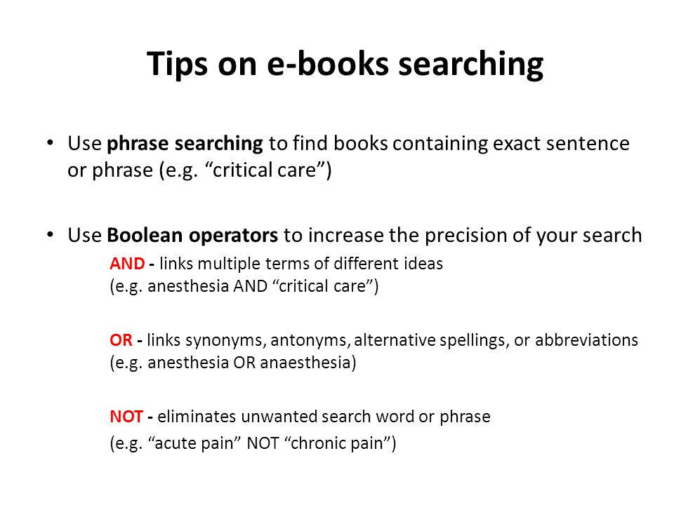 Step 4: An example of Boolean searching Perform your Boolean search
