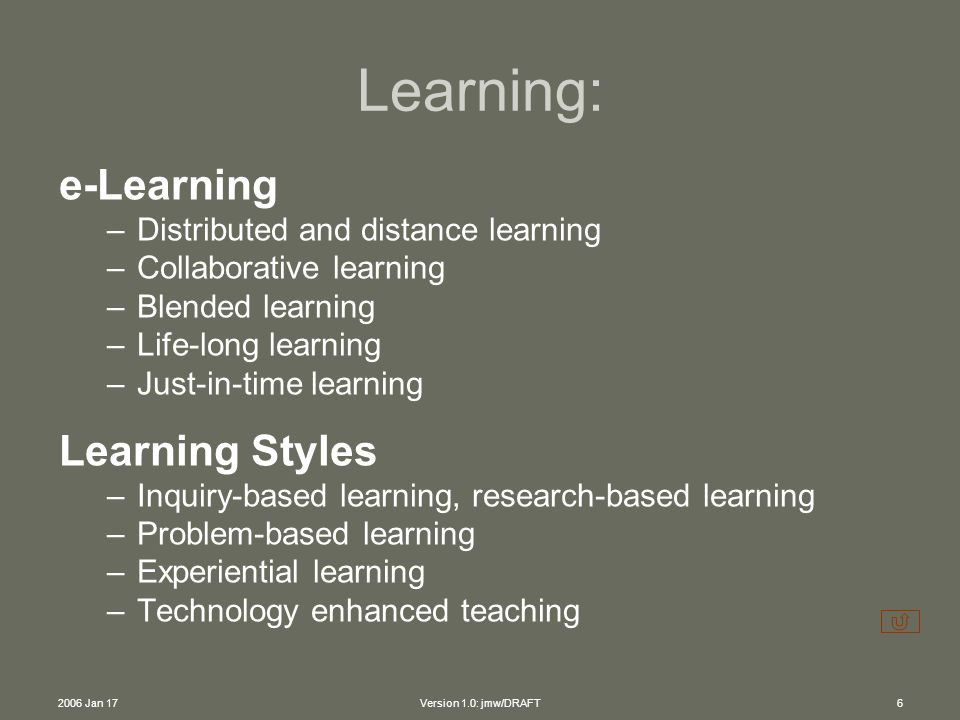 2006 Jan 17Version 1.0: jmw/DRAFT6 e-Learning –Distributed and distance learning –Collaborative learning –Blended learning –Life-long learning –Just-in-time learning Learning Styles –Inquiry-based learning, research-based learning –Problem-based learning –Experiential learning –Technology enhanced teaching Learning: