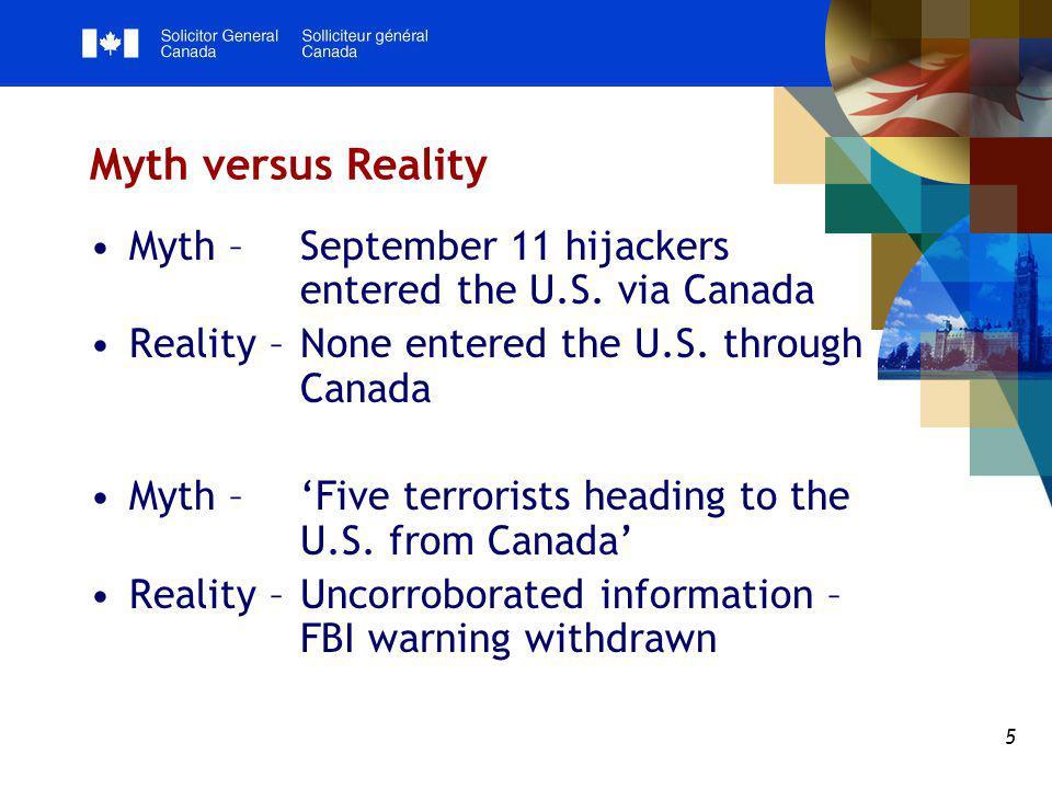 5 Myth versus Reality Myth – September 11 hijackers entered the U.S. via Canada Reality – None entered the U.S. through Canada Myth – 'Five terrorists