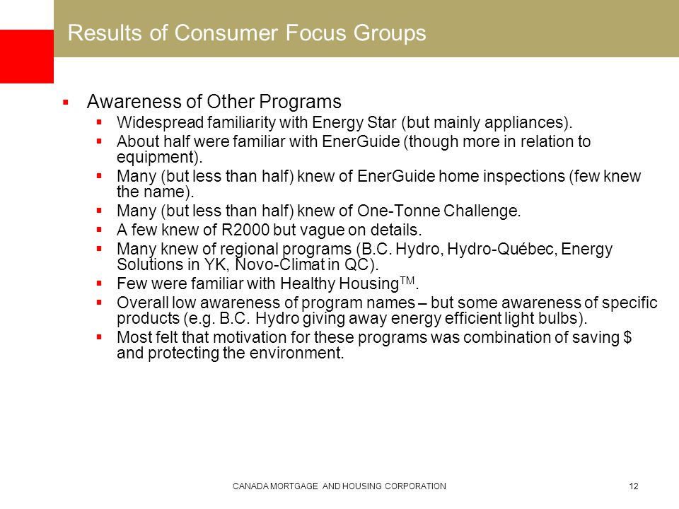 CANADA MORTGAGE AND HOUSING CORPORATION12 Results of Consumer Focus Groups  Awareness of Other Programs  Widespread familiarity with Energy Star (but mainly appliances).
