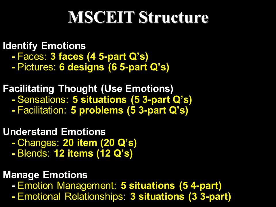 MSCEIT Structure Identify Emotions - Faces: 3 faces (4 5-part Q's) - Pictures: 6 designs (6 5-part Q's) Facilitating Thought (Use Emotions) - Sensatio