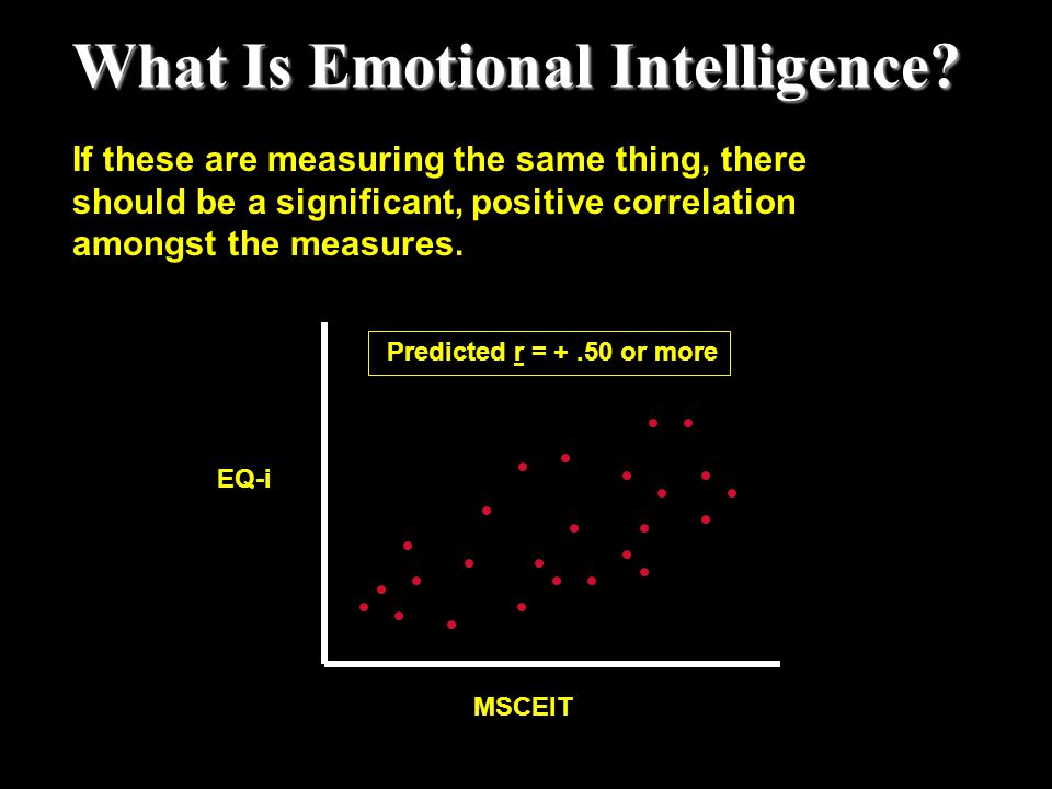 What Is Emotional Intelligence? MSCEIT EQ-i Predicted r = +.50 or more If these are measuring the same thing, there should be a significant, positive