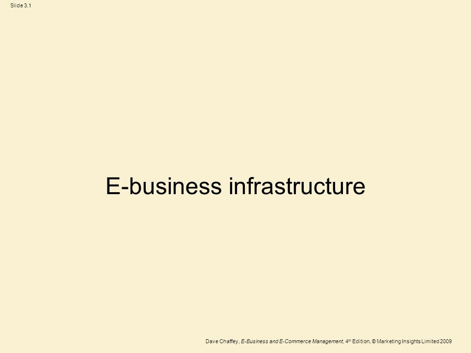 Slide 3.2 Dave Chaffey, E-Business and E-Commerce Management, 4 th Edition, © Marketing Insights Limited 2009 Learning outcomes Outline the hardware and software technologies used to build an e-business infrastructure within an organization and with its partners Outline the hardware and software requirements necessary to enable employee access to the Internet and hosting of e- commerce services.