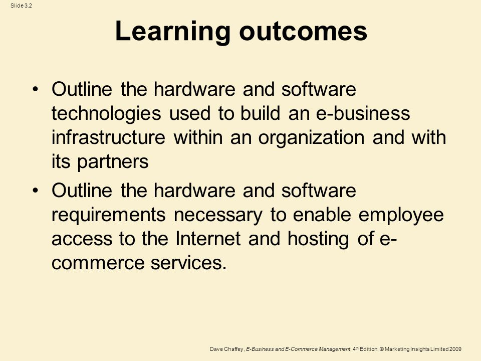 Slide 3.3 Dave Chaffey, E-Business and E-Commerce Management, 4 th Edition, © Marketing Insights Limited 2009 Management issues What are the practical risks to the organization of failure to manage e-commerce infrastructure adequately.
