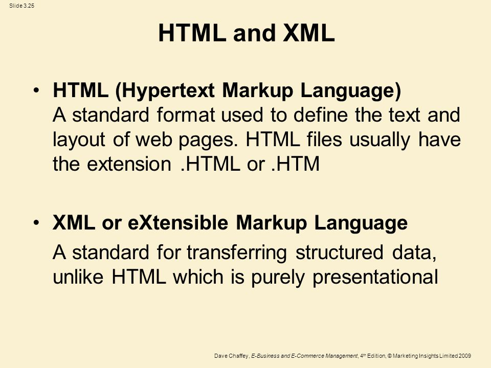 Slide 3.25 Dave Chaffey, E-Business and E-Commerce Management, 4 th Edition, © Marketing Insights Limited 2009 HTML and XML HTML (Hypertext Markup Lan