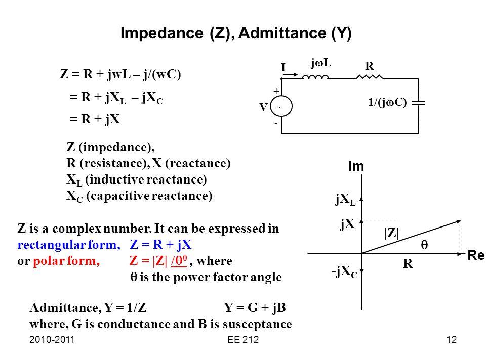 2010-2011EE 21212 Impedance (Z), Admittance (Y) V ~ 1/(j  C) R jLjL + - I Z = R + jwL – j/(wC) = R + jX L – jX C = R + jX Z is a complex number.