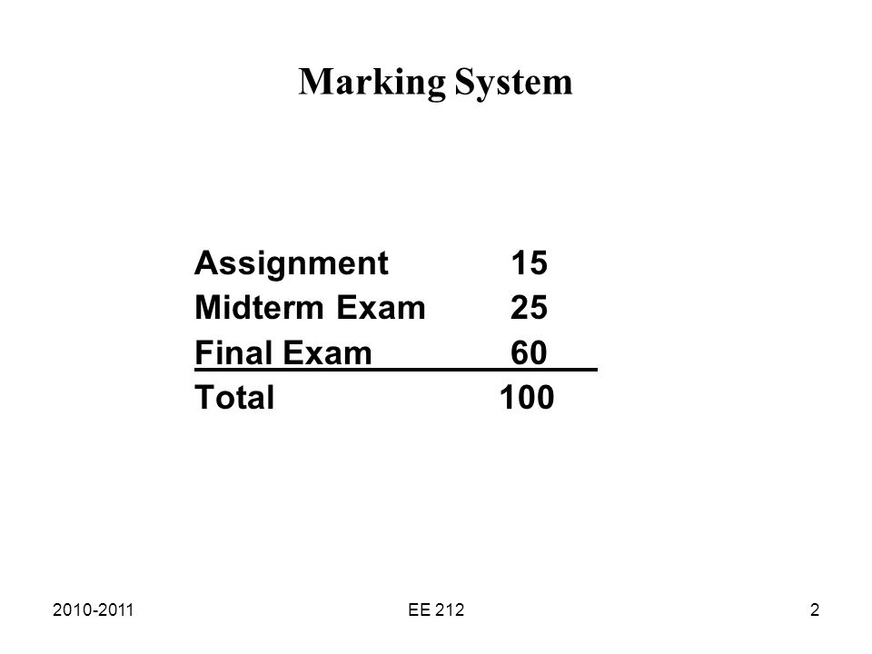 2010-2011EE 2122 Marking System Assignment15 Midterm Exam 25 Final Exam 60 Total 100