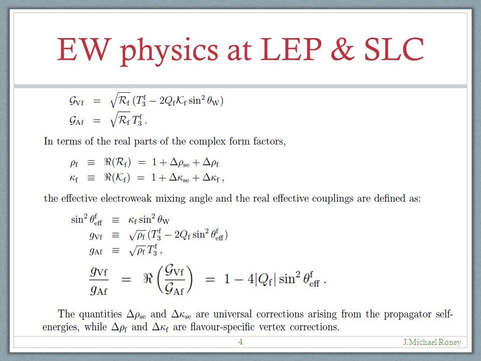 EW physics at LEP & SLC J.Michael Roney 4
