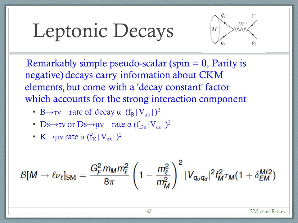 Leptonic Decays Remarkably simple pseudo-scalar (spin = 0, Parity is negative) decays carry information about CKM elements, but come with a decay constant factor which accounts for the strong interaction component B →τν rate of decay α (f B |V ub |) 2 Ds →τν or Ds →μν rate α (f Ds |V cs |) 2 K →μν rate α (f K |V us |) 2 J.Michael Roney 43
