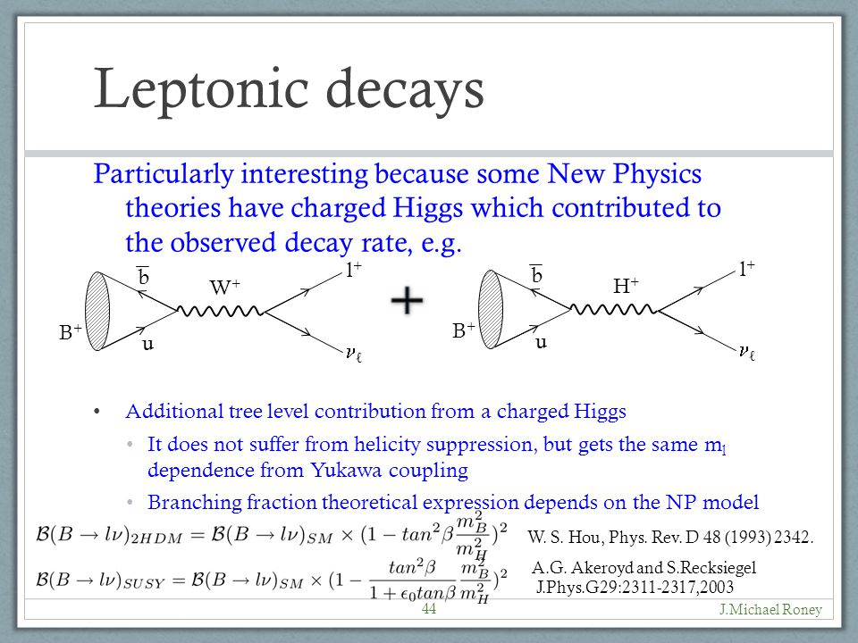 Leptonic decays Particularly interesting because some New Physics theories have charged Higgs which contributed to the observed decay rate, e.g.