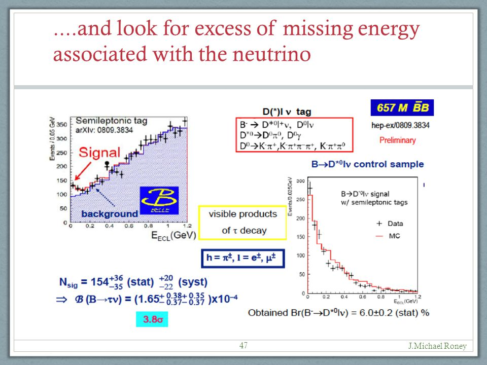 ....and look for excess of missing energy associated with the neutrino J.Michael Roney 47