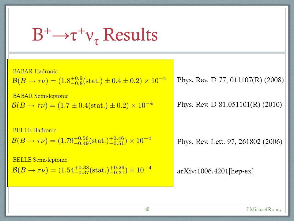 J.Michael Roney 48 Phys. Rev. D 77, 011107(R) (2008) Phys.