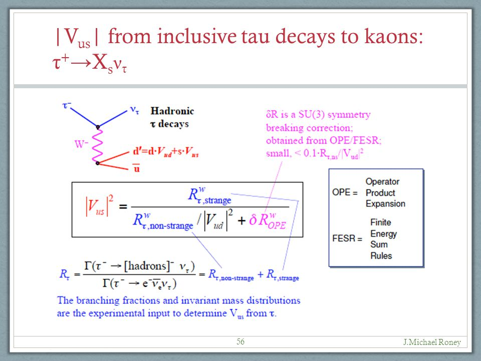 |V us | from inclusive tau decays to kaons: τ + → X s ν τ J.Michael Roney 56