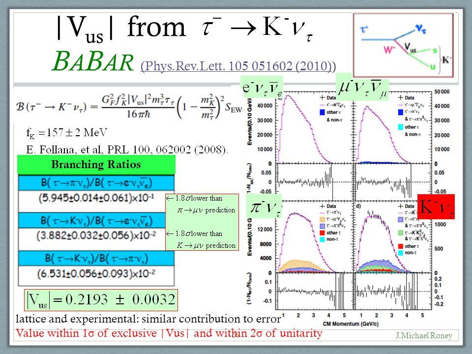 J.Michael Roney 59 |V us | from B A B AR (Phys.Rev.Lett.