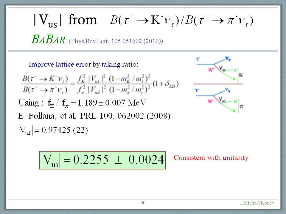 |V us | from J.Michael Roney 60 B A B AR (Phys.Rev.Lett.