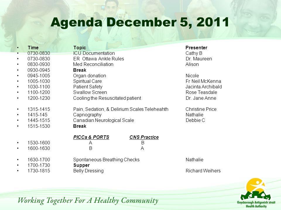 Agenda December 5, 2011 TimeTopicPresenter 0730-0830ICU Documentation Cathy B 0730-0830ER Ottawa Ankle RulesDr.