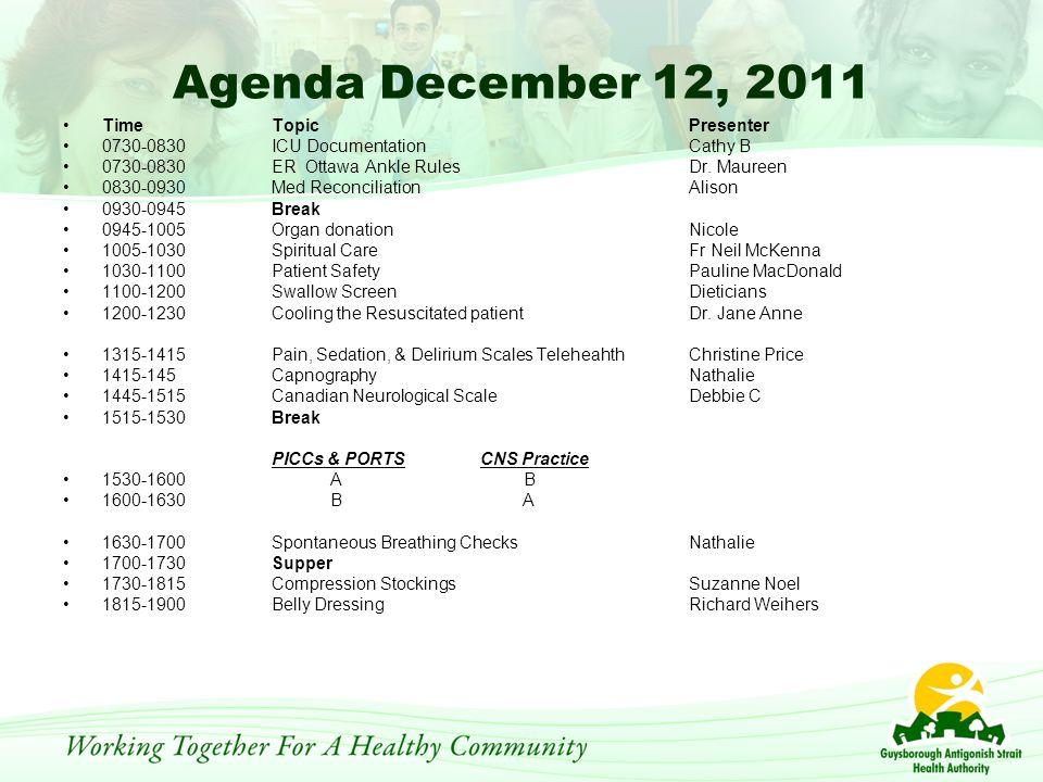 Agenda December 12, 2011 TimeTopicPresenter 0730-0830ICU Documentation Cathy B 0730-0830ER Ottawa Ankle RulesDr.