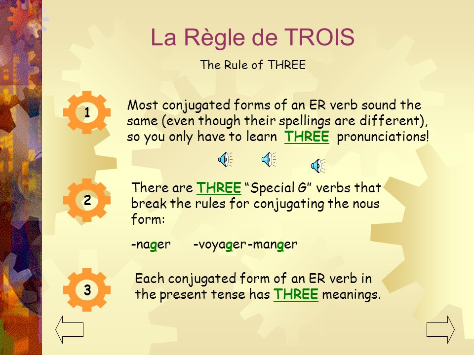 La Règle de TROIS The Rule of THREE Most conjugated forms of an ER verb sound the same (even though their spellings are different), so you only have to learn THREE pronunciations.